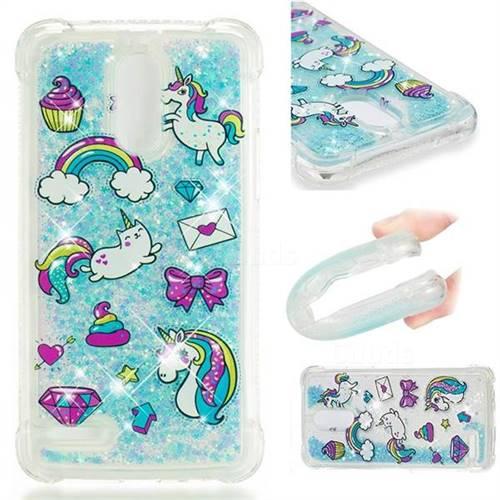 Fashion Unicorn Dynamic Liquid Glitter Sand Quicksand Star TPU Case for LG Stylus 3 Stylo3 K10 Pro LS777 M400DK