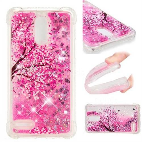 Pink Cherry Blossom Dynamic Liquid Glitter Sand Quicksand Star TPU Case for LG Stylus 3 Stylo3 K10 Pro LS777 M400DK