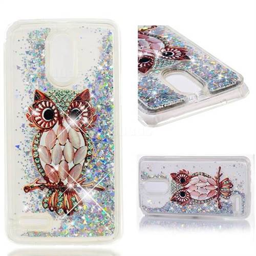 Dynamic Liquid Glitter Quicksand Soft TPU Case for LG Stylus 3 Stylo3 K10 Pro LS777 M400DK - Seashell Owl