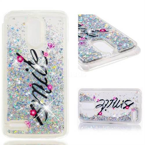 Dynamic Liquid Glitter Quicksand Soft TPU Case for LG Stylus 3 Stylo3 K10 Pro LS777 M400DK - Smile Flower