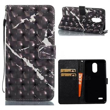 Black Marble 3D Painted Leather Wallet Case for LG Stylus 3 Stylo3 K10 Pro LS777 M400DK