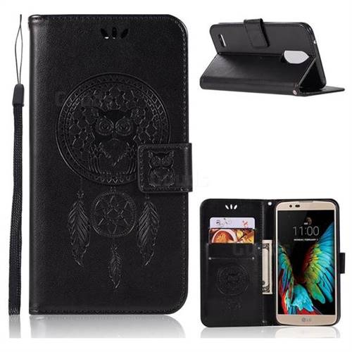 Intricate Embossing Owl Campanula Leather Wallet Case for LG Stylus 3 Stylo3 K10 Pro LS777 M400DK - Black