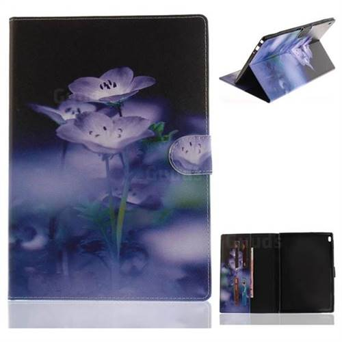 Blue Flowers Painting Tablet Leather Wallet Flip Cover for Lenovo Tab4 10 (Lenovo TB-X304F/L)