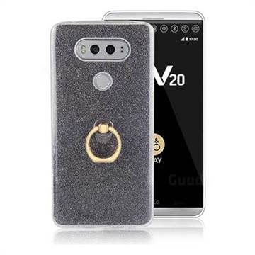 Luxury Soft TPU Glitter Back Ring Cover with 360 Rotate Finger Holder Buckle for LG V20 - Black