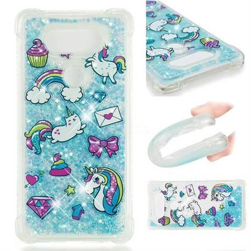 Fashion Unicorn Dynamic Liquid Glitter Sand Quicksand Star TPU Case for LG V20