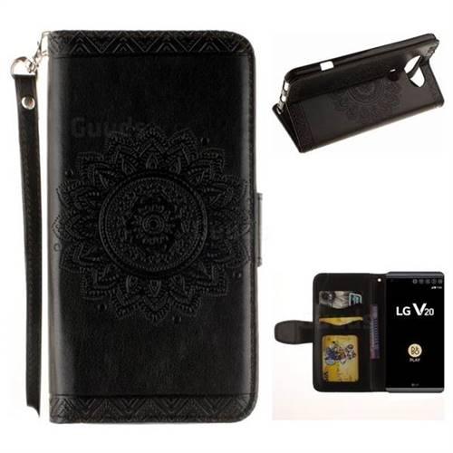 Embossed Datura Flower PU Leather Wallet Case for LG V20 - Black