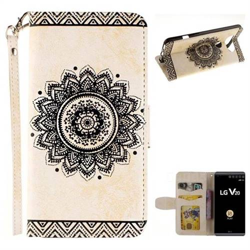 Embossed Datura Flower PU Leather Wallet Case for LG V20 - White