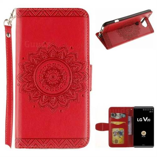 Embossed Datura Flower PU Leather Wallet Case for LG V20 - Red