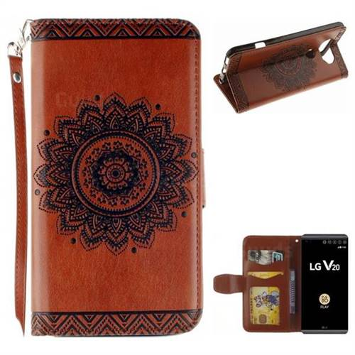 Embossed Datura Flower PU Leather Wallet Case for LG V20 - Brown