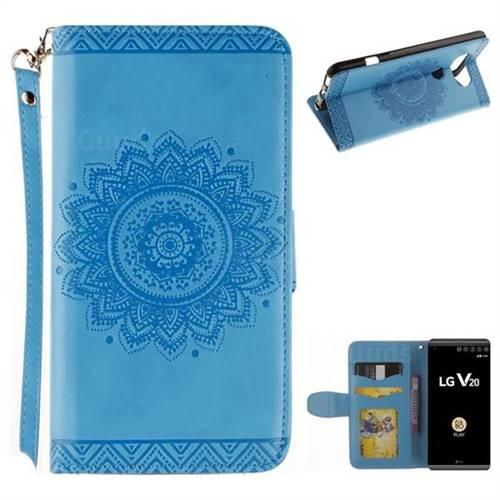 Embossed Datura Flower PU Leather Wallet Case for LG V20 - Blue