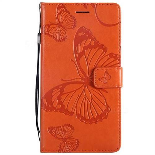 Embossing 3D Butterfly Leather Wallet Case for LG V20 - Orange