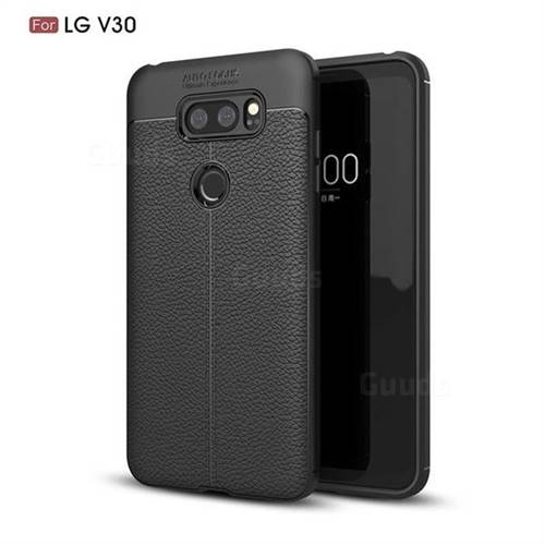 Luxury Auto Focus Litchi Texture Silicone TPU Back Cover for LG V30 - Black