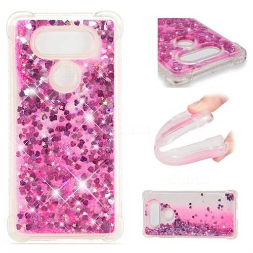 Dynamic Liquid Glitter Sand Quicksand TPU Case for LG V30 - Pink Love Heart