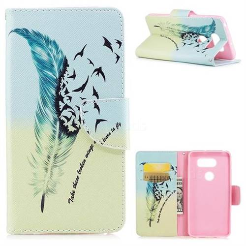 Feather Bird Leather Wallet Case for LG V30