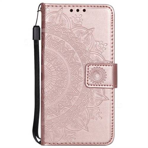 the latest fd3cd 5940f Intricate Embossing Datura Leather Wallet Case for LG V30 - Rose Gold