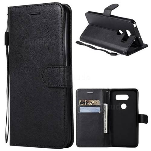 Retro Greek Classic Smooth PU Leather Wallet Phone Case for LG V30 - Black