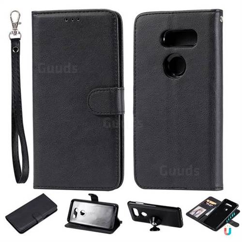 Retro Greek Detachable Magnetic PU Leather Wallet Phone Case for LG V30 - Black
