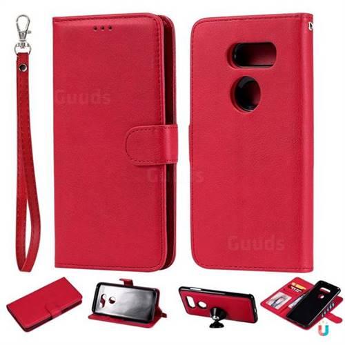 best cheap 31d6e 305de Retro Greek Detachable Magnetic PU Leather Wallet Phone Case for LG V30 -  Red
