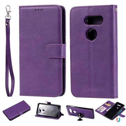 buy popular 1de62 f9bc7 Retro Greek Detachable Magnetic PU Leather Wallet Phone Case for LG V30 -  Purple