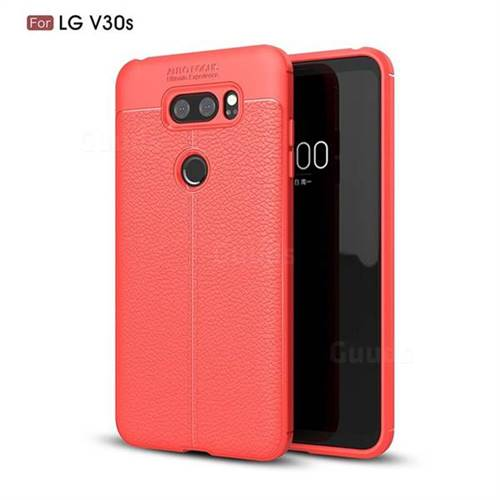 Luxury Auto Focus Litchi Texture Silicone TPU Back Cover for LG V30S ThinQ / V30S+ ThinQ - Red