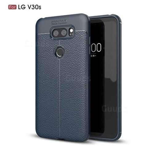 Luxury Auto Focus Litchi Texture Silicone TPU Back Cover for LG V30S ThinQ / V30S+ ThinQ - Dark Blue