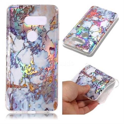 Gold Plating Marble Pattern Bright Color Laser Soft TPU Case for LG V35 ThinQ (LG V35+ ThinQ)