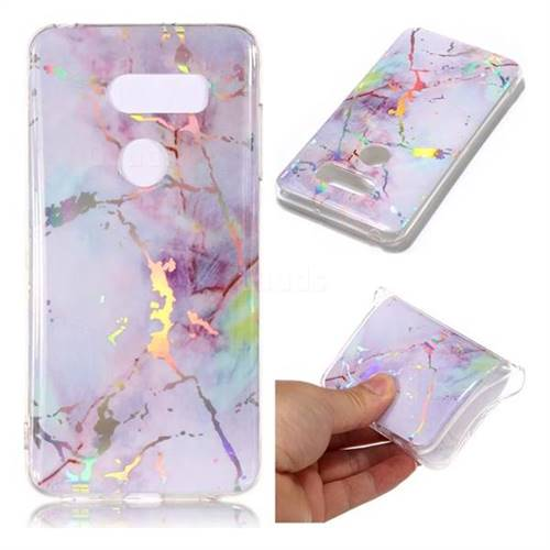 Pink Purple Marble Pattern Bright Color Laser Soft TPU Case for LG V35 ThinQ (LG V35+ ThinQ)