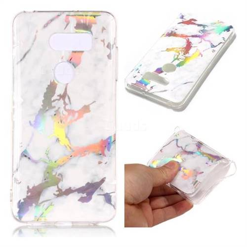 White Marble Pattern Bright Color Laser Soft TPU Case for LG V35 ThinQ (LG V35+ ThinQ)