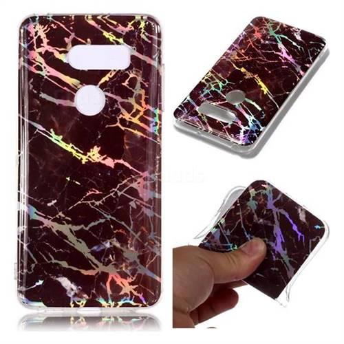Black Brown Marble Pattern Bright Color Laser Soft TPU Case for LG V35 ThinQ (LG V35+ ThinQ)