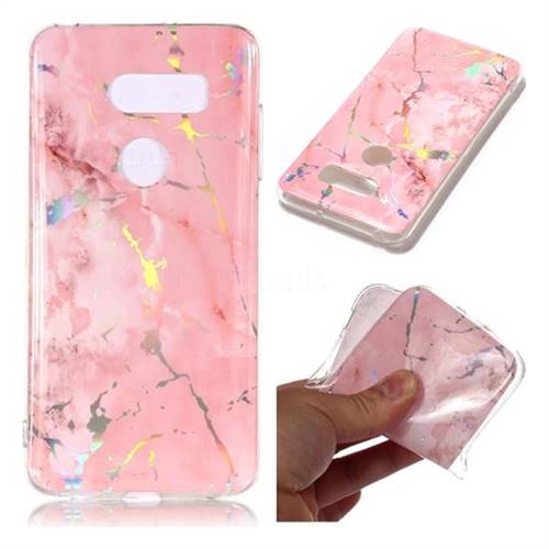 Powder Pink Marble Pattern Bright Color Laser Soft TPU Case for LG V35 ThinQ (LG V35+ ThinQ)