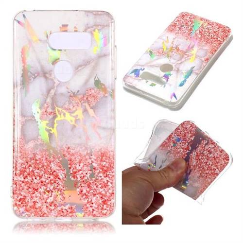 Powder Sandstone Marble Pattern Bright Color Laser Soft TPU Case for LG V35 ThinQ (LG V35+ ThinQ)