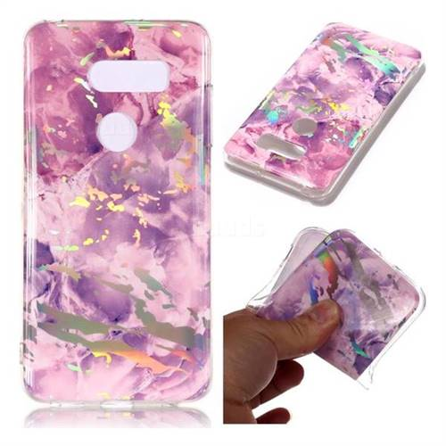 Purple Marble Pattern Bright Color Laser Soft TPU Case for LG V35 ThinQ (LG V35+ ThinQ)