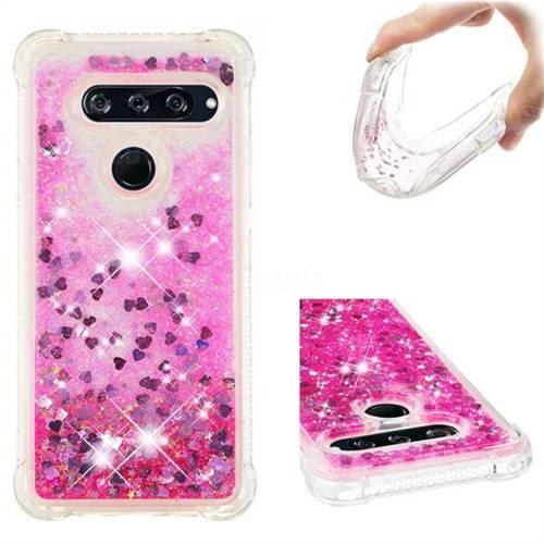 Dynamic Liquid Glitter Sand Quicksand TPU Case for LG V40 ThinQ - Pink Love Heart