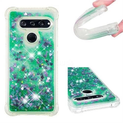 Dynamic Liquid Glitter Sand Quicksand TPU Case for LG V40 ThinQ - Green Love Heart