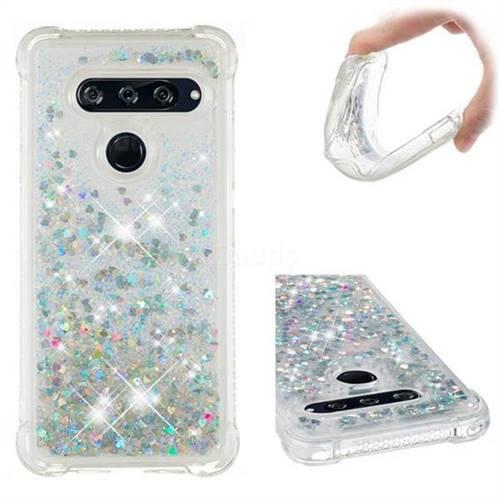 Dynamic Liquid Glitter Sand Quicksand Star TPU Case for LG V40 ThinQ - Silver