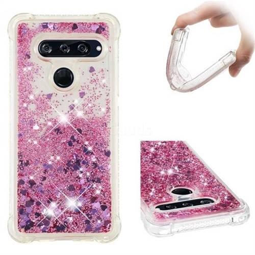 Dynamic Liquid Glitter Sand Quicksand Star TPU Case for LG V40 ThinQ - Diamond Rose