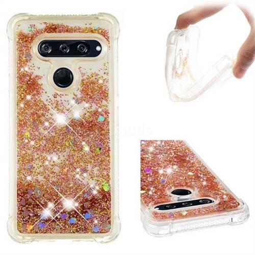 Dynamic Liquid Glitter Sand Quicksand Star TPU Case for LG V40 ThinQ - Diamond Gold