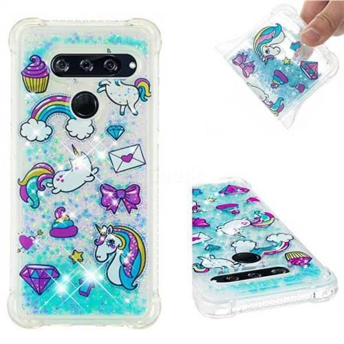 Fashion Unicorn Dynamic Liquid Glitter Sand Quicksand Star TPU Case for LG V40 ThinQ