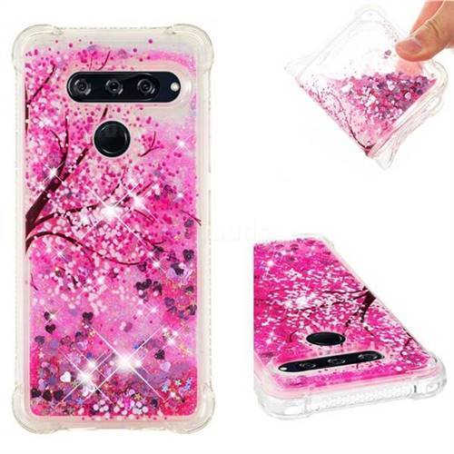 Pink Cherry Blossom Dynamic Liquid Glitter Sand Quicksand Star TPU Case for LG V40 ThinQ