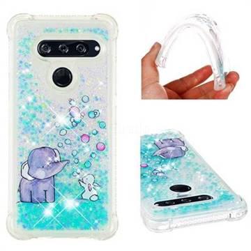 Bubble Jumbo Rabbit Dynamic Liquid Glitter Sand Quicksand Star TPU Case for LG V40 ThinQ