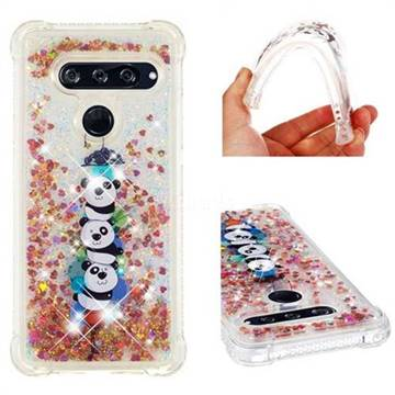 Three Pandas Dynamic Liquid Glitter Sand Quicksand Star TPU Case for LG V40 ThinQ