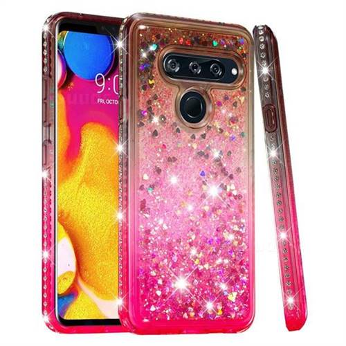 Diamond Frame Liquid Glitter Quicksand Sequins Phone Case for LG V40 ThinQ - Gray Pink
