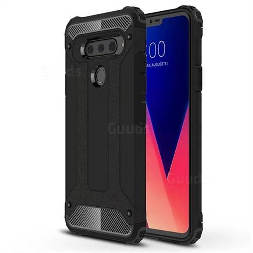 King Kong Armor Premium Shockproof Dual Layer Rugged Hard Cover for LG V40 ThinQ - Black Gold