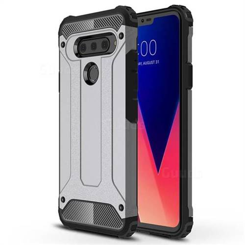 King Kong Armor Premium Shockproof Dual Layer Rugged Hard Cover for LG V40 ThinQ - Silver Grey