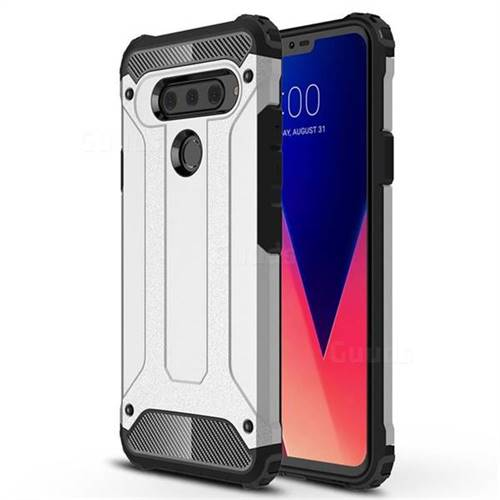 King Kong Armor Premium Shockproof Dual Layer Rugged Hard Cover for LG V40 ThinQ - Technology Silver