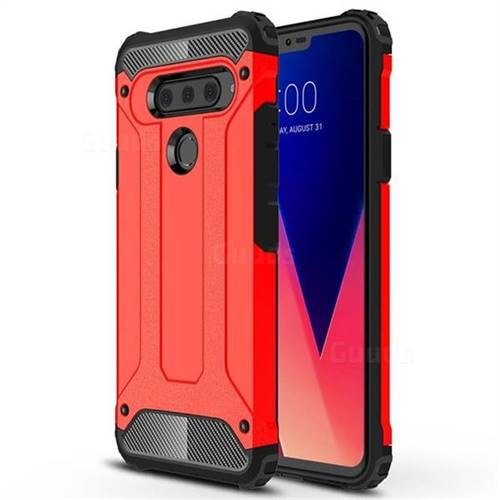 King Kong Armor Premium Shockproof Dual Layer Rugged Hard Cover for LG V40 ThinQ - Big Red