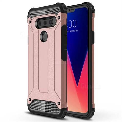 King Kong Armor Premium Shockproof Dual Layer Rugged Hard Cover for LG V40 ThinQ - Rose Gold