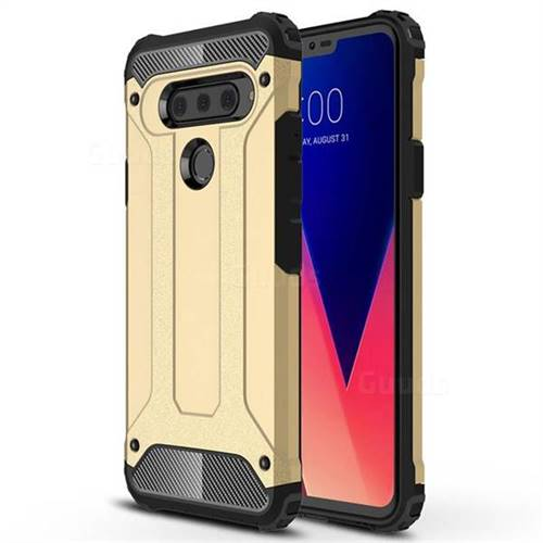 King Kong Armor Premium Shockproof Dual Layer Rugged Hard Cover for LG V40 ThinQ - Champagne Gold