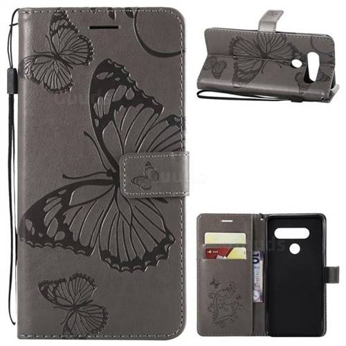 Embossing 3D Butterfly Leather Wallet Case for LG V40 ThinQ - Gray