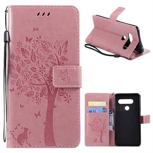 535458b18444 Embossing Butterfly Tree Leather Wallet Case for LG V40 ThinQ - Pink